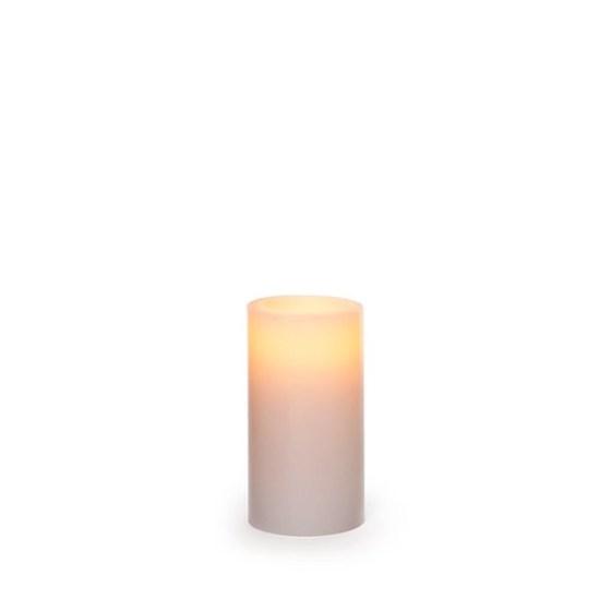 Wax LED Pillar Candle Round White (9.5cmH)