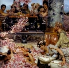 Orgy scenes, such as the one depicted in Roses of Heliogabalus by Alma Tadema, did not exist, according to Dr Alastair Blanshard.