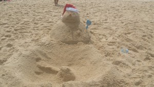 Christmas Sandman on Bondi Beach