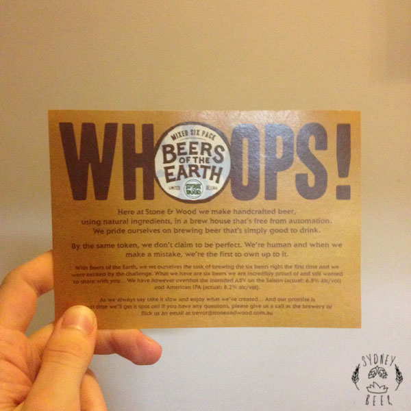 Stone & Wood Beers of the Earth Whoops card