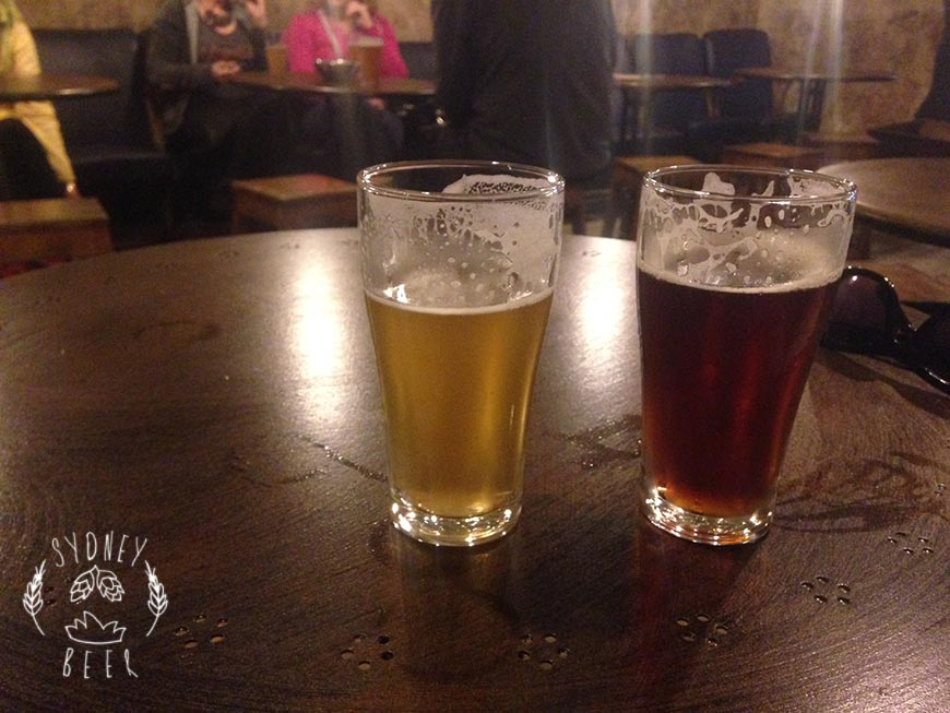Wayward Brewing tasting room FUSAMI india pale lager and Charmer India Red Ale