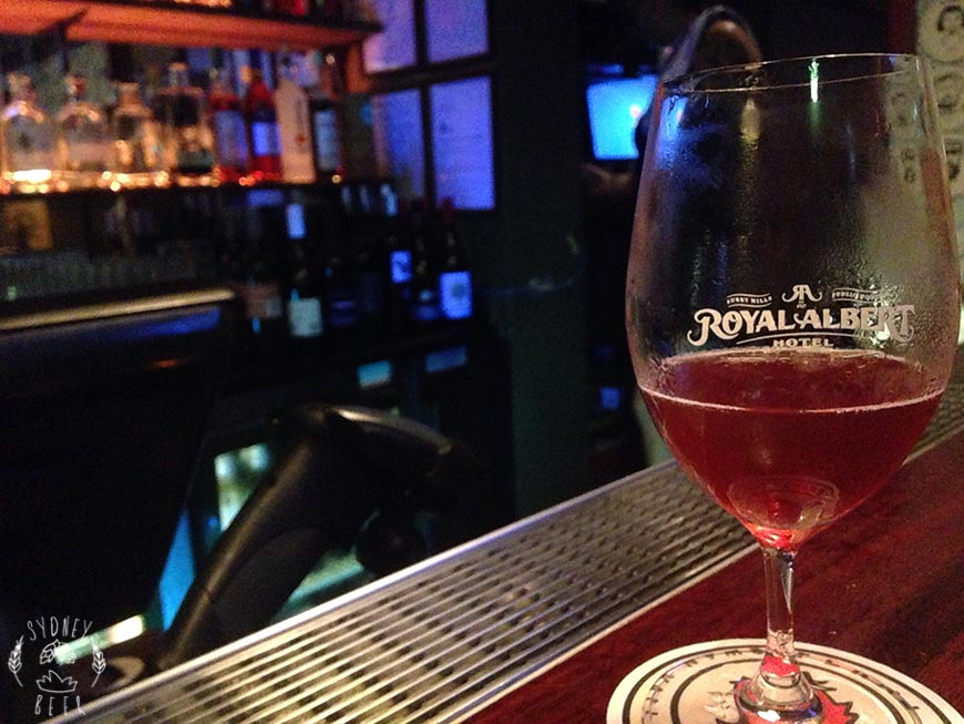 Royal Albert Hotel Rodenbach beer on bar