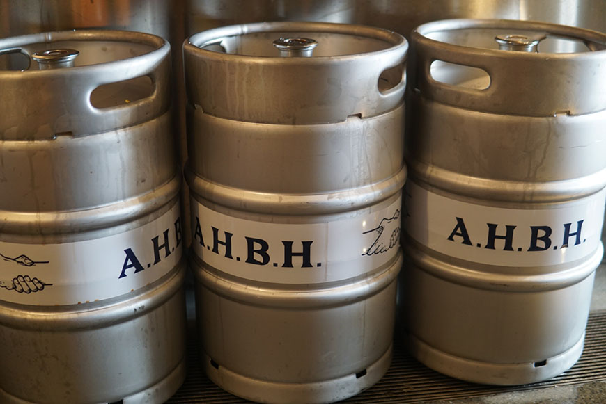 All Hands Brewing House kegs