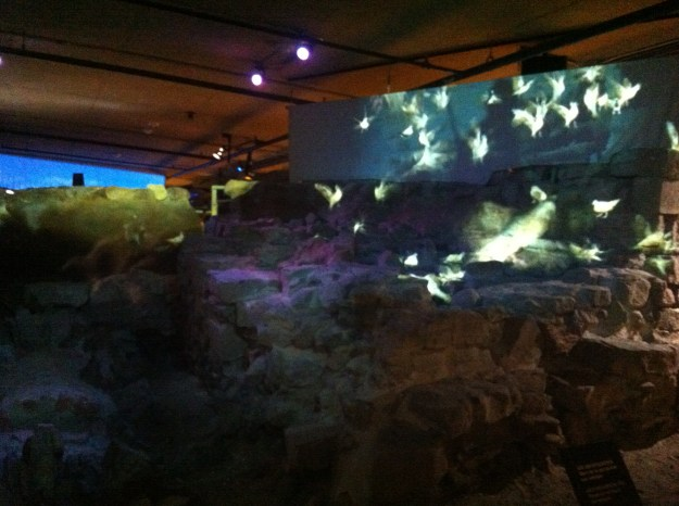 A video installation at Pointe-à-Callière, a really interesting archeological and historical museum in Old Port Montreal
