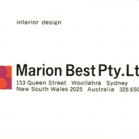Business card for Marion Best Pty Ltd, Sydney, 1960s-70s