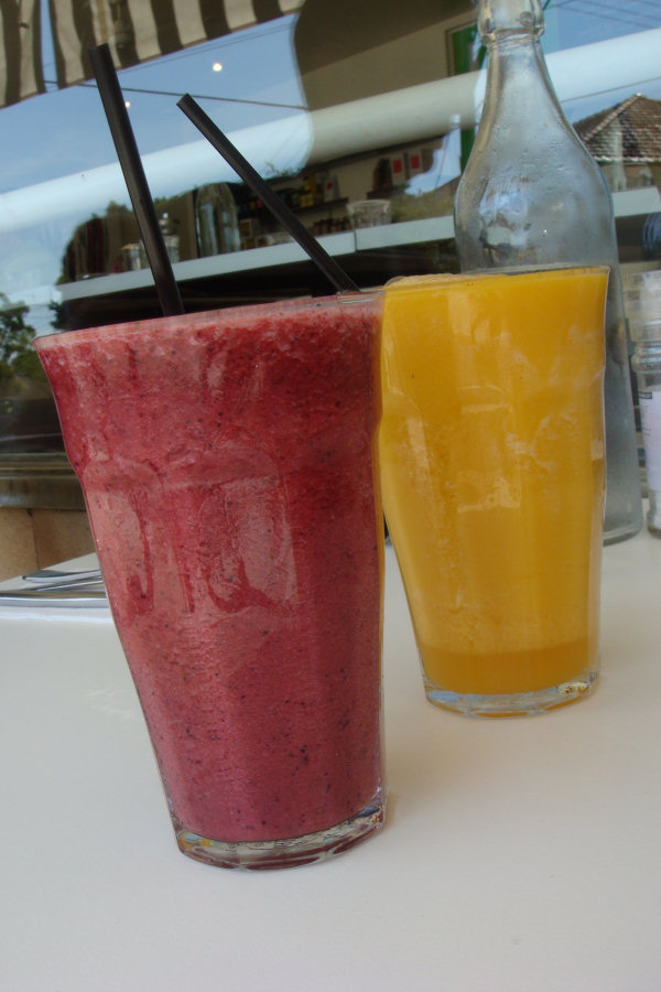 Pineapple, berry & mint frappe and orange, mango & ginger frappe
