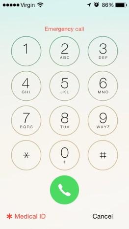 iPhone Emergency Phone call - MedicalID info