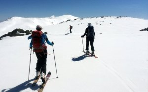 Heading out on touring skis for Mt Kosi, Snowy Mountains