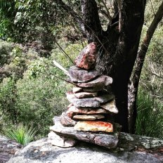 Off track walking - cairn marks the route