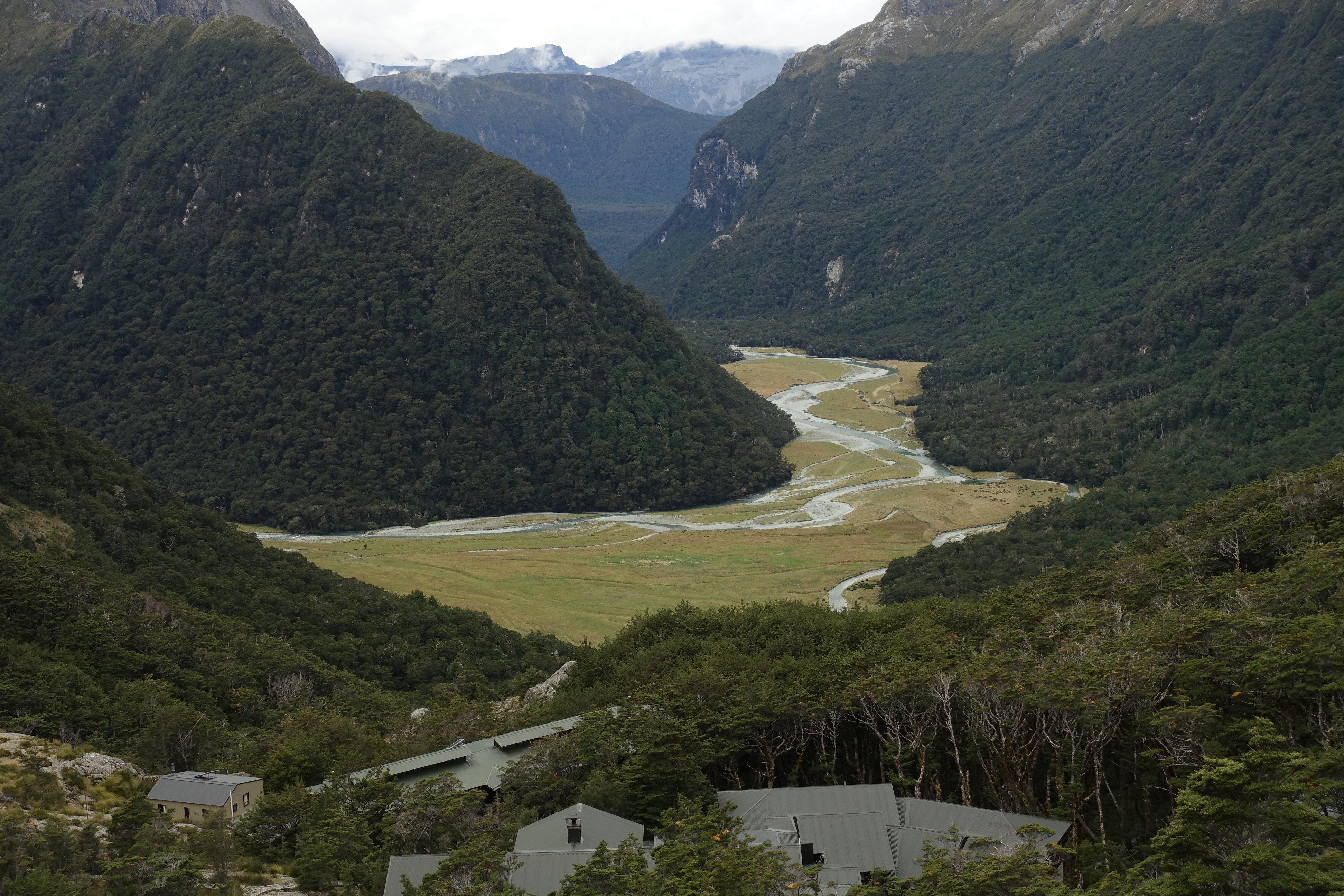 Routeburn Valley with Huts in foreground