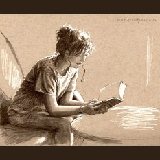 Reading - Ink on toned paper, 2014