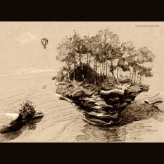 Island - ink on toned paper, 2014