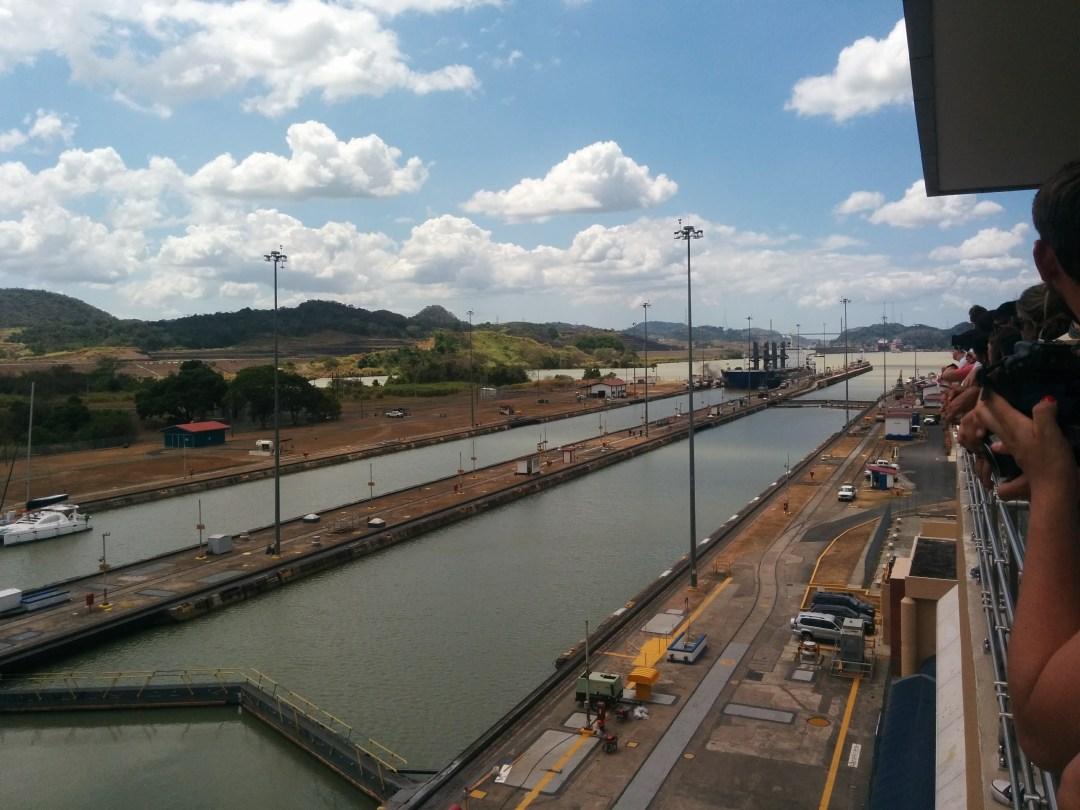 2) Container ship entering lock
