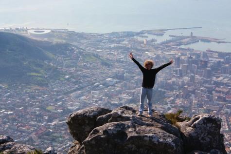 På toppen av Table Mountain i Cape Town! Green Point Stadium oppe til venstre!
