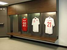 Inside the team changing rooms.