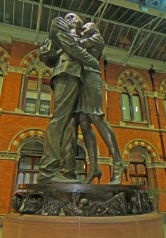 The Meeting Place under the clock at St Pancras Station.