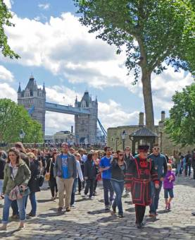 Visiting the Tower of London in 2014.