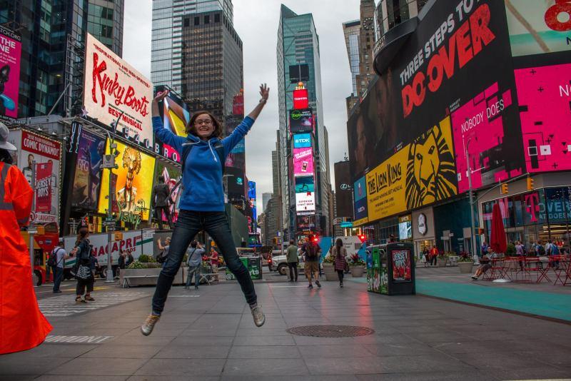 Gabrielle, le premier matin à Times Squares.