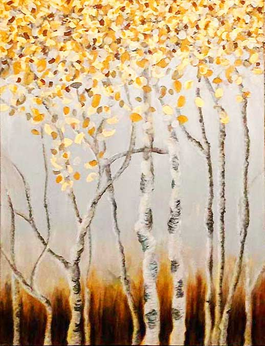 gold leaves and birch bark