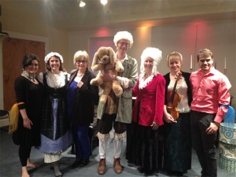 """""""Happy Birthday Mozart!"""" Actors, musicians, and Dalcroze dancers. Interactive concert for young children at Winchester Community Music School, written and directed by Adriana Ausch. Fall 2013"""