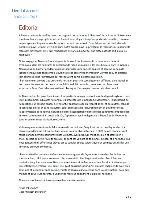 page 1 éditorial