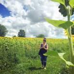 Moi... dans un champ de tournesols!