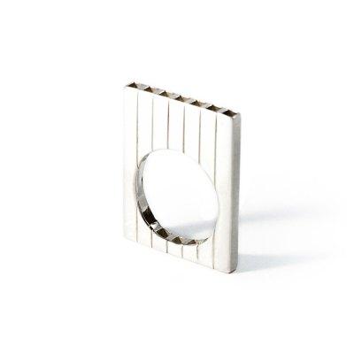 Tubular Square Line flat silver ring