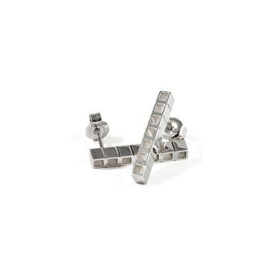 Tubular Square Line short silver earrings