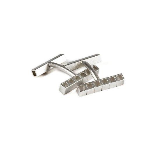 Tubular Square Line silver cuff links