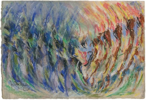 «La foire» ou «La contredanse» vers 1920 Pastel signé en bas à gauchecachet «François Kupka» au dos 18,8 x 27,2 cm - Galerie Antoine Laurentin - Paris