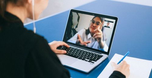 video conference call on laptop