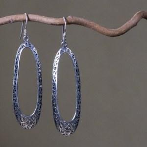 Boucles d'oreilles ethnique en argent 925 Taille : 7 cm