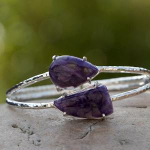 Bracelet type bangle pierre Charoite