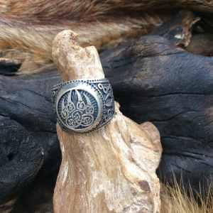 Bague en argent motif patte d'ours viking