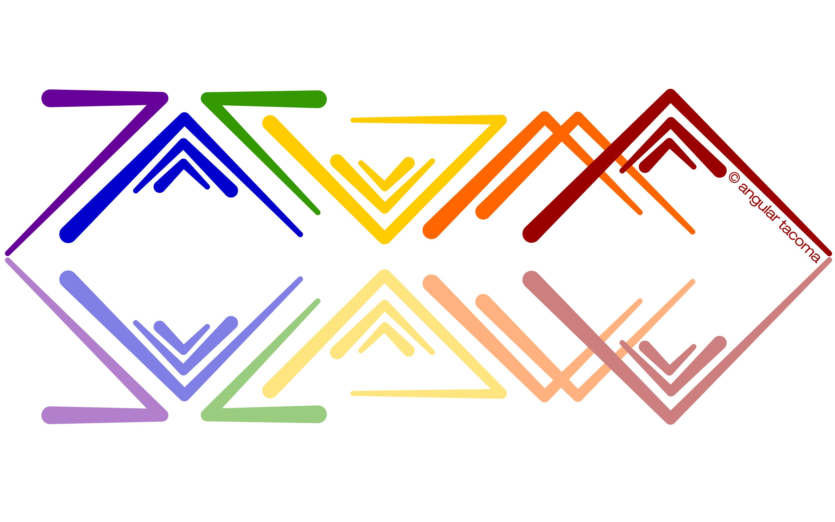 Rainbow Reflection version of Angular Tacoma wordart
