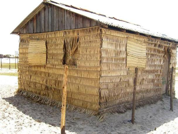 The houses are constructed from woven coconut fronds