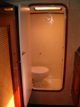 Each of three cabins have own electric toilets