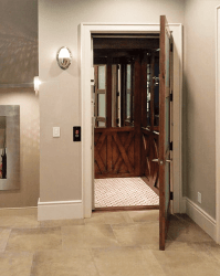 Symmetry Home Elevator with Crossbuck Panels installed by Country Home Elevator - Kansas City