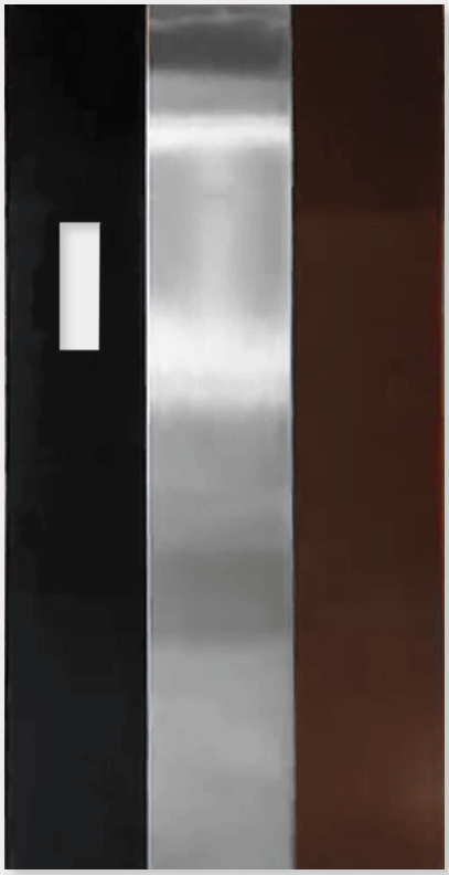Symmetry Safety 3 Panel Door in Black Brushed Stainless Steel Vintage Bronze
