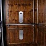 Symmetry Home Elevator Dark Stain Car Panel Stainless Steel Fixtures