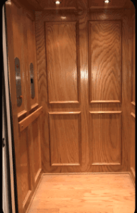 Home Elevator with Walnut Picture Framing Car Panels