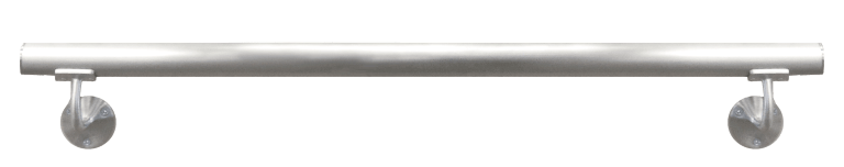 Optional round metal handrail shown in Brushed Stainless Steel