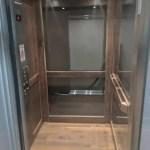 Symmetry LU/LA Elevator Glass and Hickory Car Walls