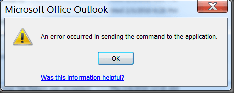 excel 2016 error message there was a problem sending the command to the program