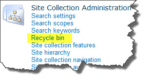 Site Collection Recycle Bin
