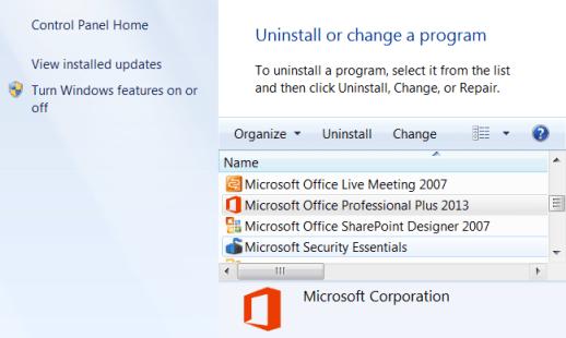 Uninstall of change a program
