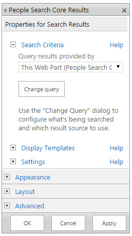 People Search Core Results Web Part Tool Pane