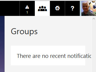 On some pages the Office365 suite bar shows Groups