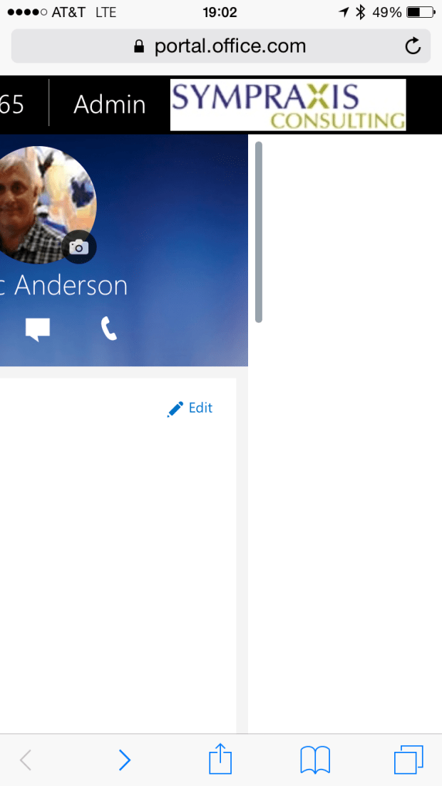 Office 365 Profile suite bar isn't fully responsive yet.