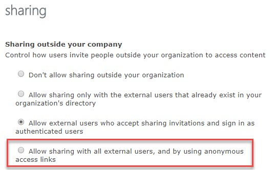 """Enabling the """"Anyone"""" Sharing Setting in and Office 365 Site"""